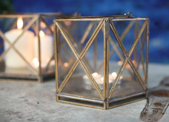 emhome-Nkuku-decor-lantern-home-antique-zinc-glass-candle-holder-NL05 – 2