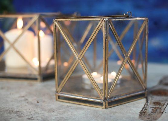emhome-Nkuku-decor-lantern-home-antique-zinc-glass-candle-holder-NL05 – 2