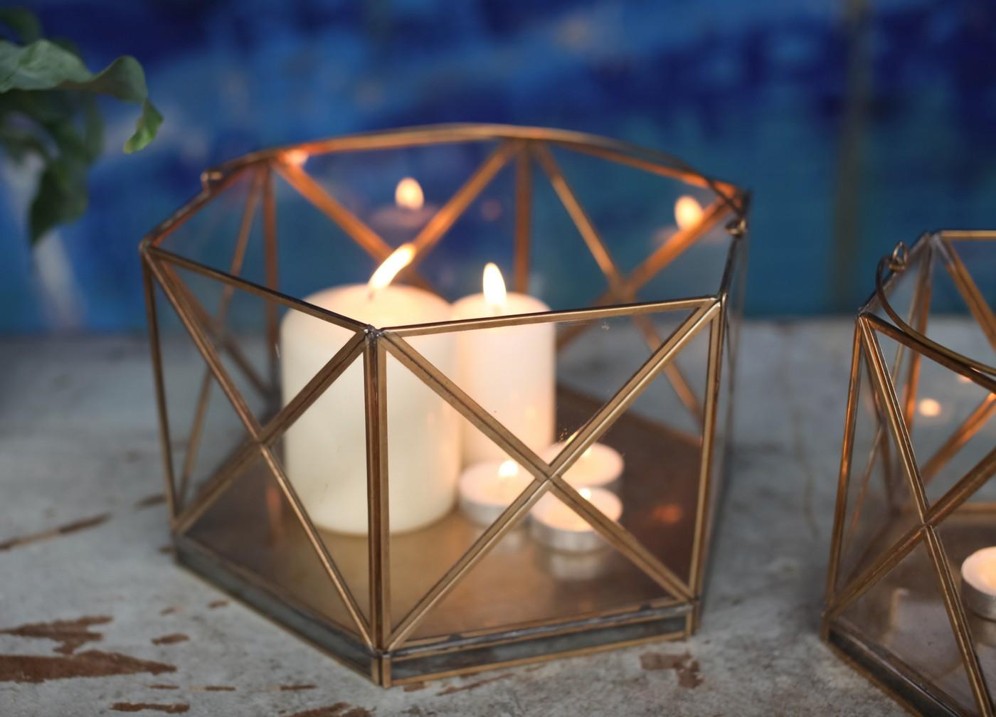 Small nema antique brass and glass lantern by nkuku Home decor lanterns