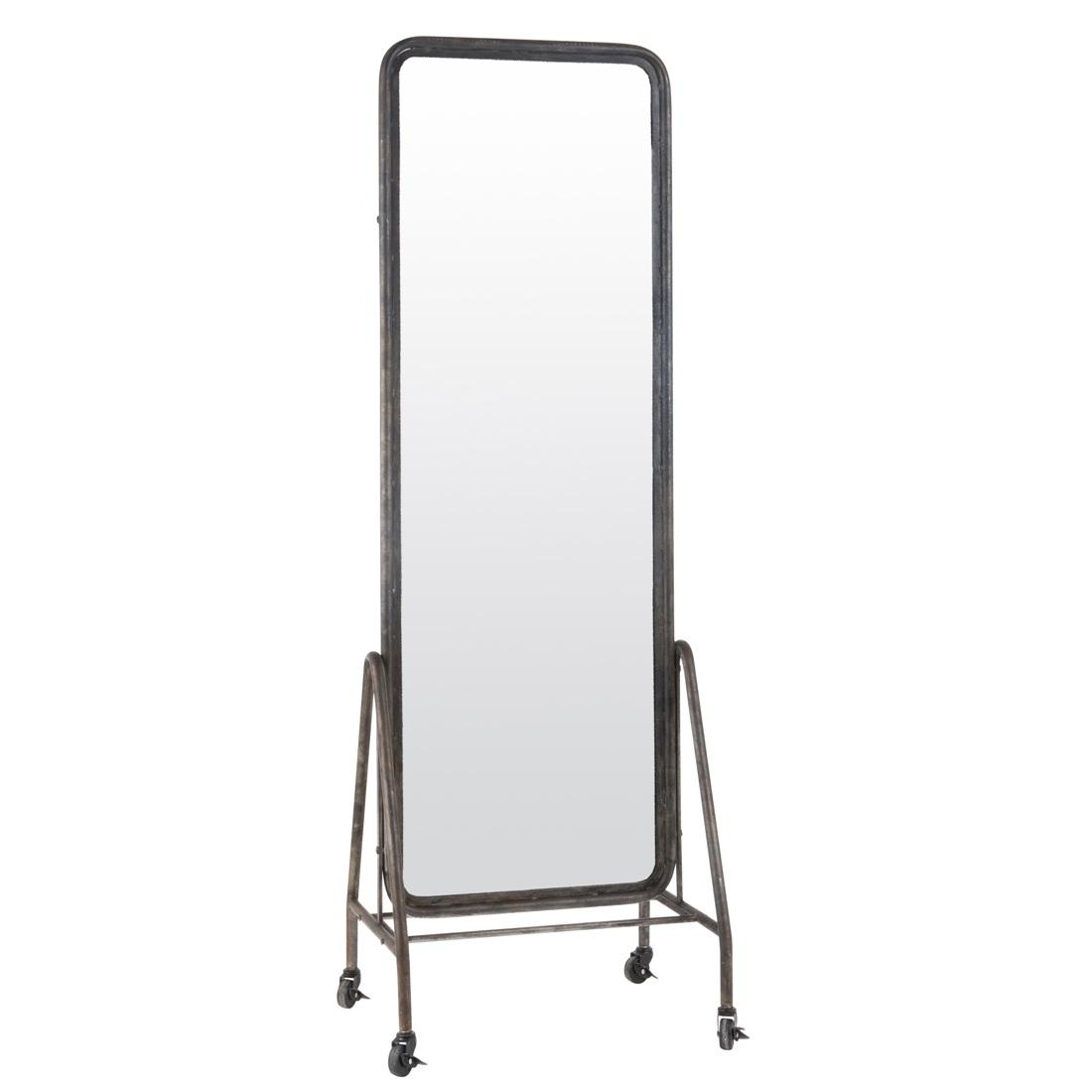 Black Inclined Free Standing Floor Mirror on Wheels by Ib Laursen 173 cm