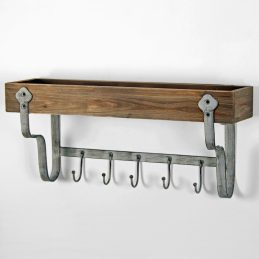 rustic-wall-mounted-wooden-storage-shelf-with-5-metal-hooks