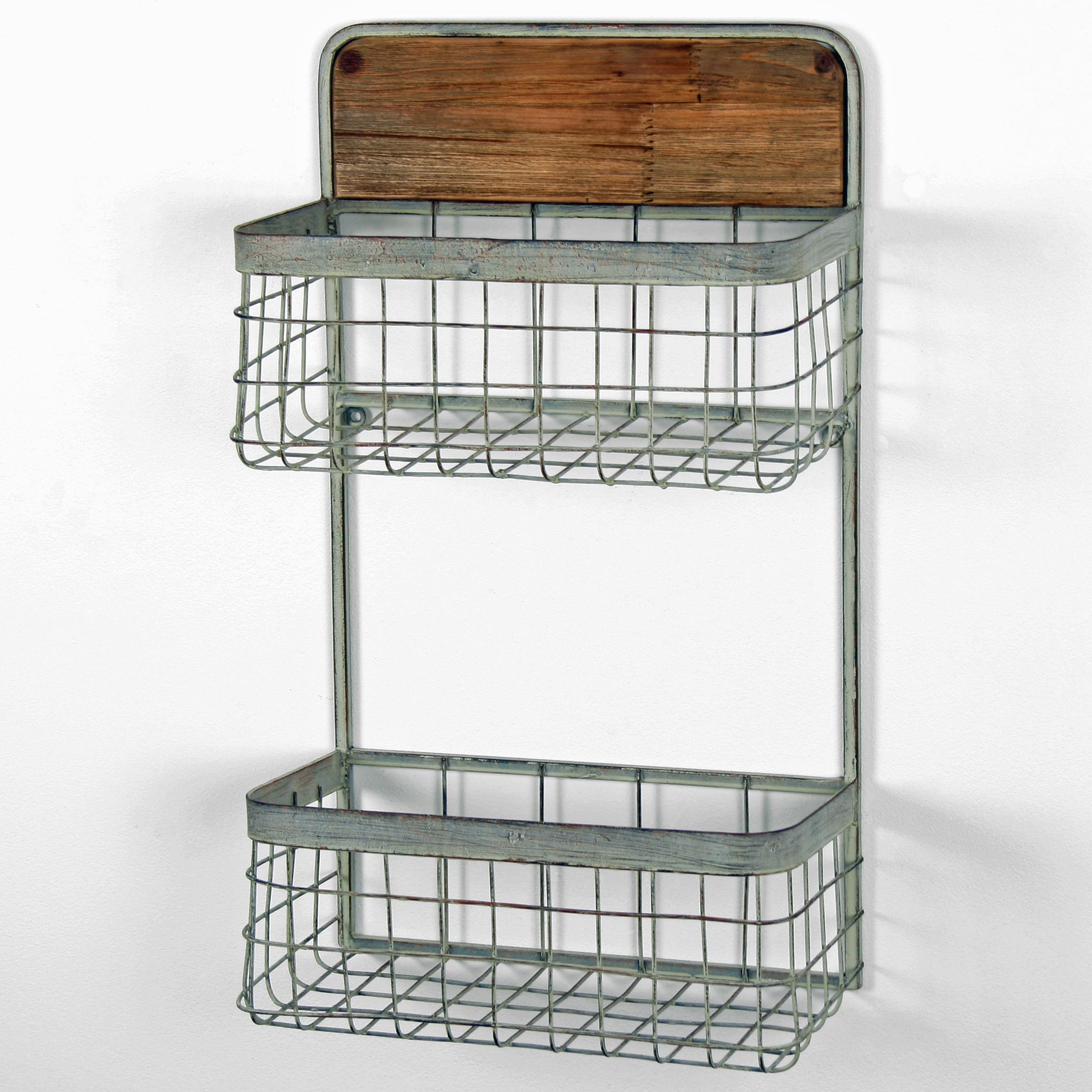 Metal Wall Mounted Double Hanging Basket Storage Shelves
