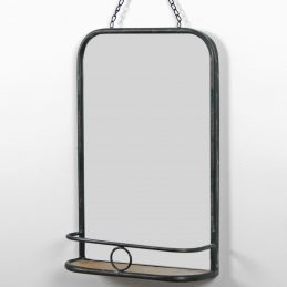 rustic-rectangular-black-wall-hanging-mirror-with-mini-shelf