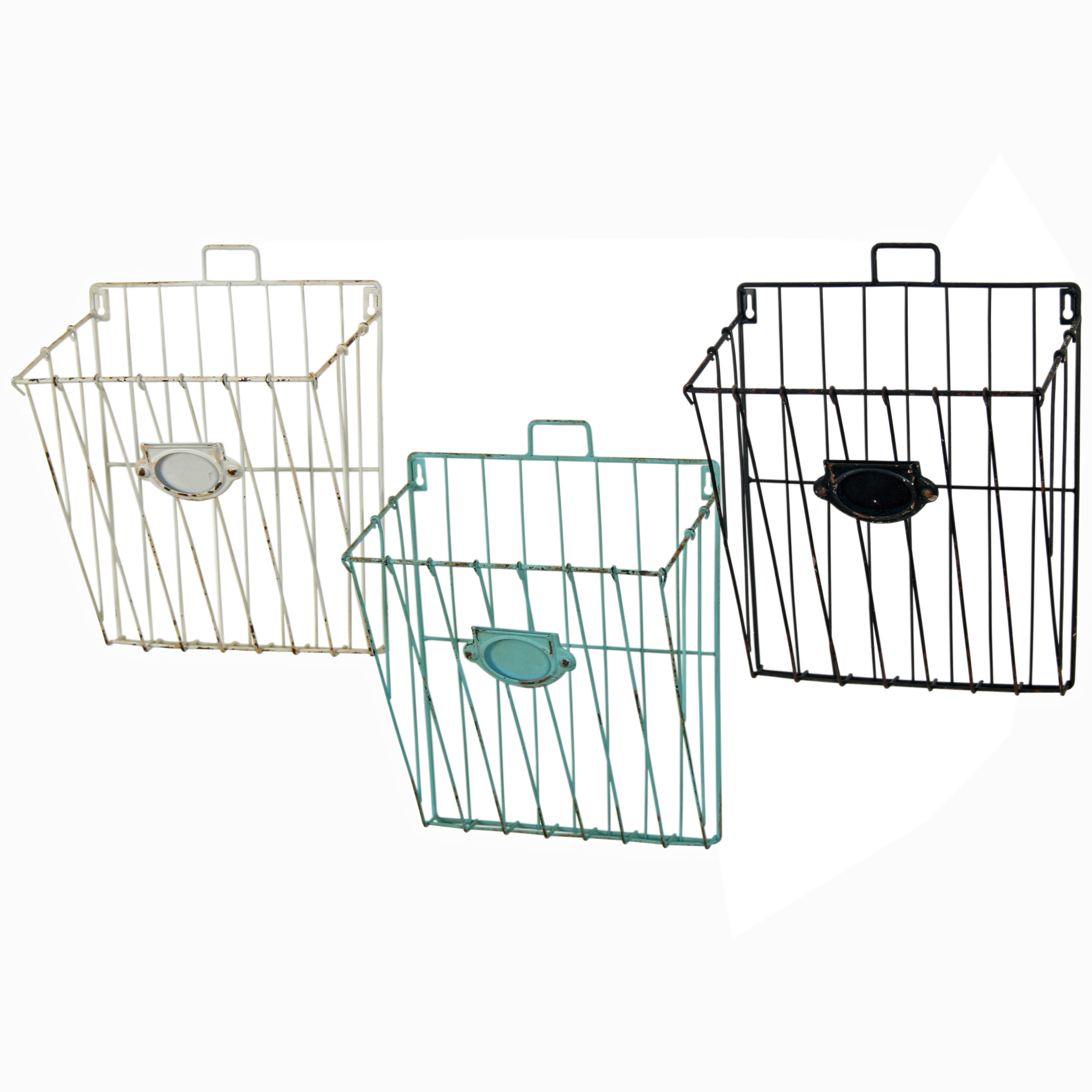 6defcf7c719 Set of 3 Wall Mounted Wire Storage Baskets Mail   Documents ...