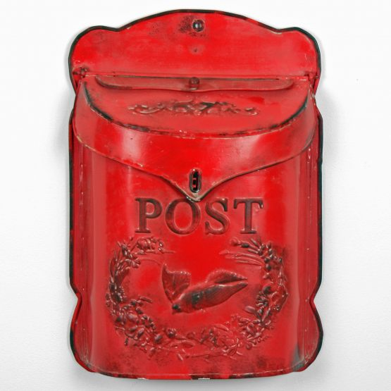 decorative-red-wall-mounted-embossed-metal-vintage-tin-post-box