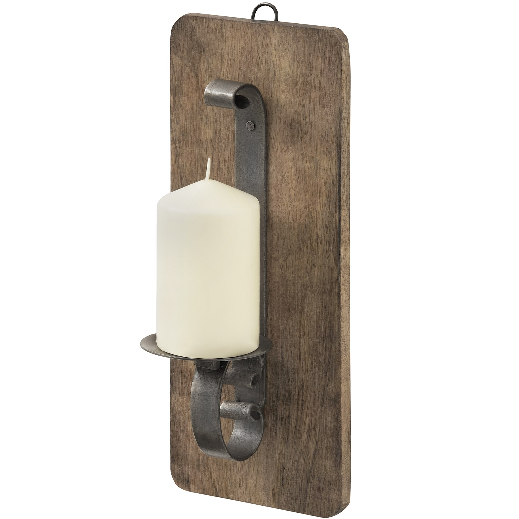 Medium Wrought Iron Wall Candle Sconce W/Hardwood Backplate