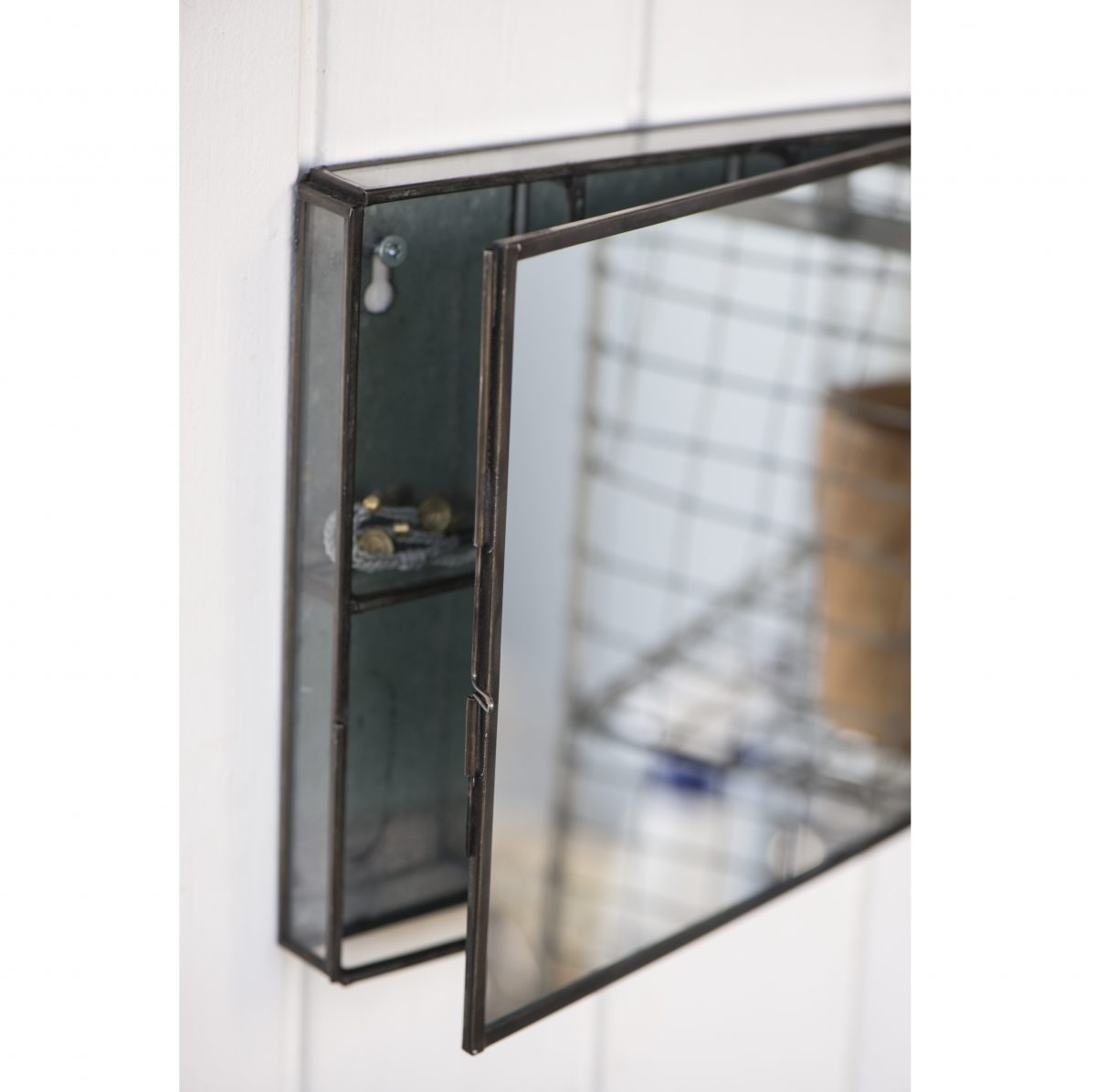 Black Metal Wall Hanging Storage Box With Mirror By Ib Laursen