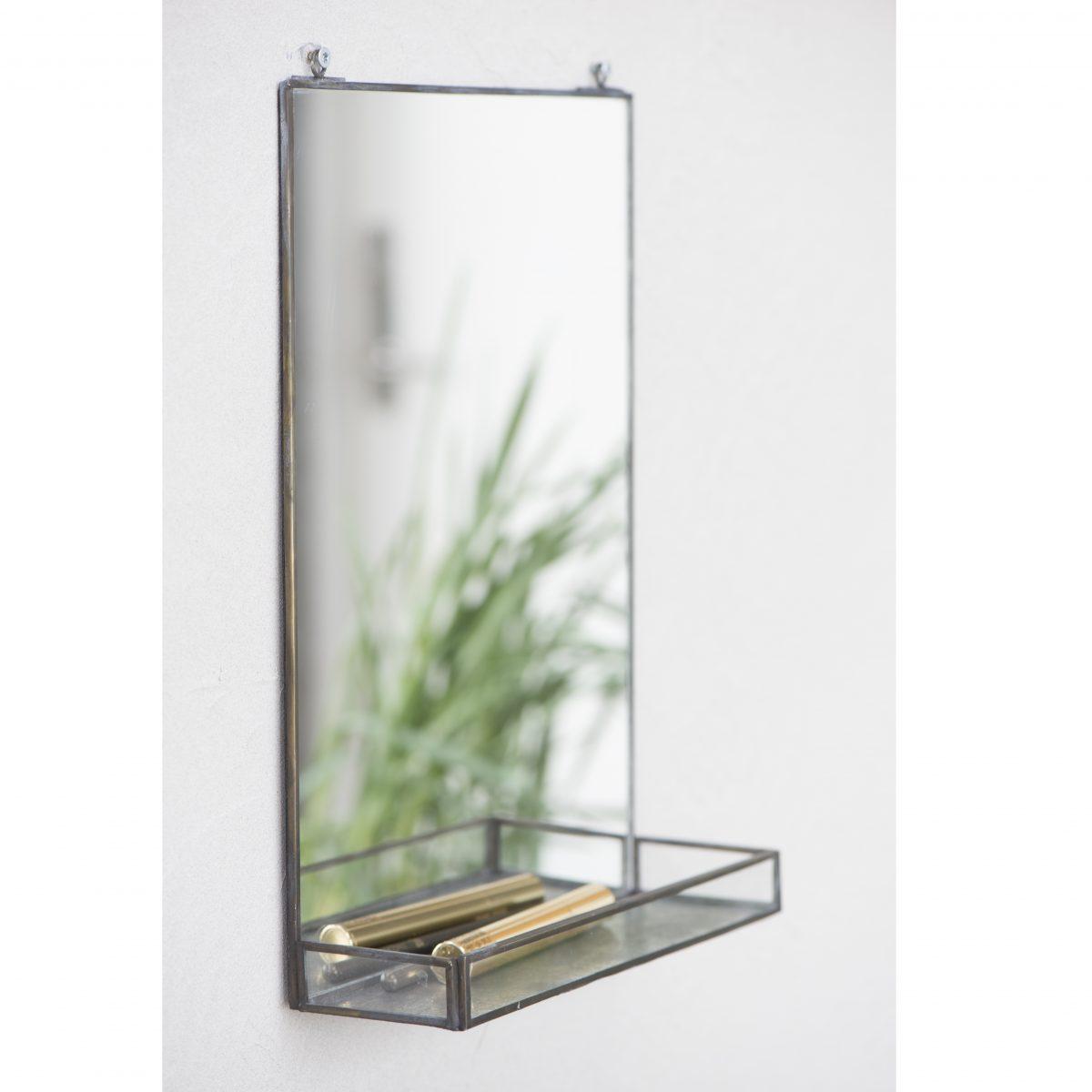 Medium Black Wall Hanging Mirror With Mini Shelf By Ib Laursen
