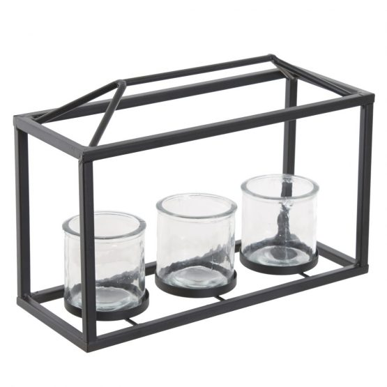 Medium Black Metal Box Frame Three Candle Holder Lantern / Planter
