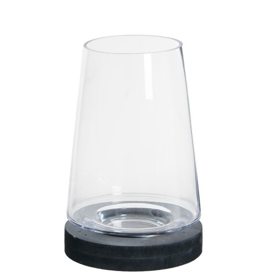 medium-glass-cone-dome-candle-holder-with-open-top-black-base-27-cm