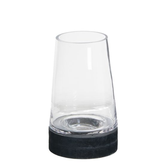 small-glass-cone-dome-candle-holder-with-open-top-black-base-16-cm