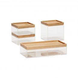 set-of-4-clear-acrylic-desk-organiser-boxes-with-wooden-lid-by-hubsch