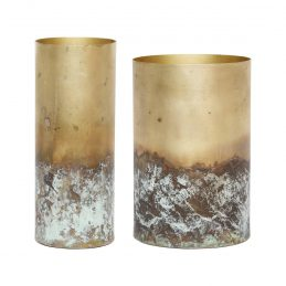 set-of-2-modern-gold-pots-with-antique-style-bottom-by-hubsch