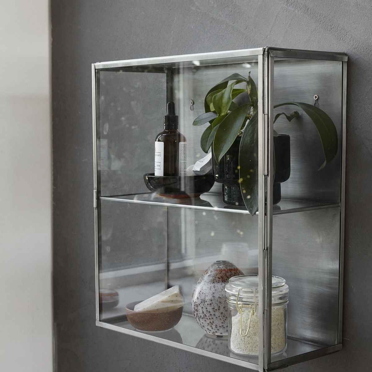 Stainless Steel Wall Hanging Storage Cabinet With Glass Door By