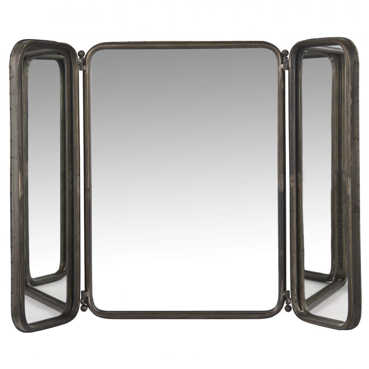 Rustic black rectangular 3 panel folding wall hanging mirror for Miroir 3 pans