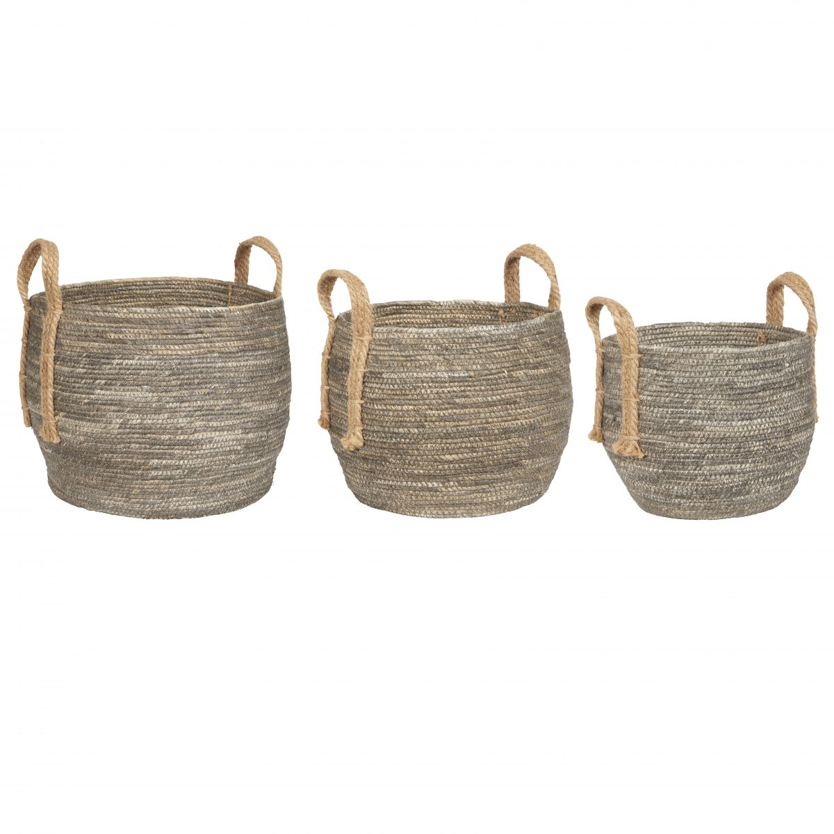 Em_home Ib_laursen Basket Set Jute Grey Home Decor