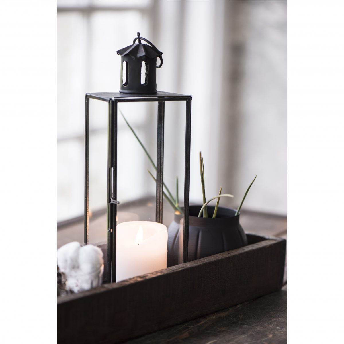 Black Medium Straight Sides Hanging Lantern Pillar Candle Holder Ib Laursen
