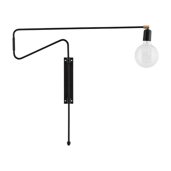 Asymmetrical Modern Swing Brass Black Iron Wall Lamp Danish Design By House  Doctor