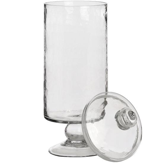 vintage-hammered-glass-jar-high-foot-tall-36cm-hill-interiors