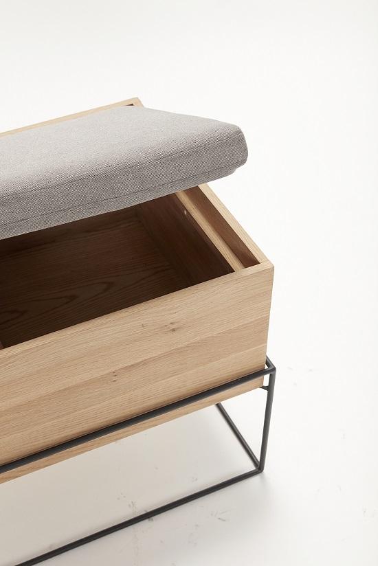 Oak Storage Bench With Cushion By Hubsch