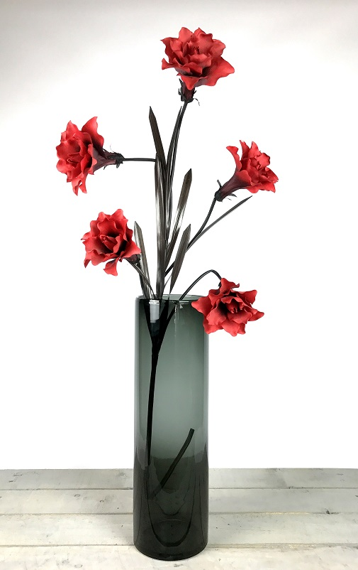Handmade Mouth Blown Black Glass Cylinder Vase For Flowers Tall 50cm