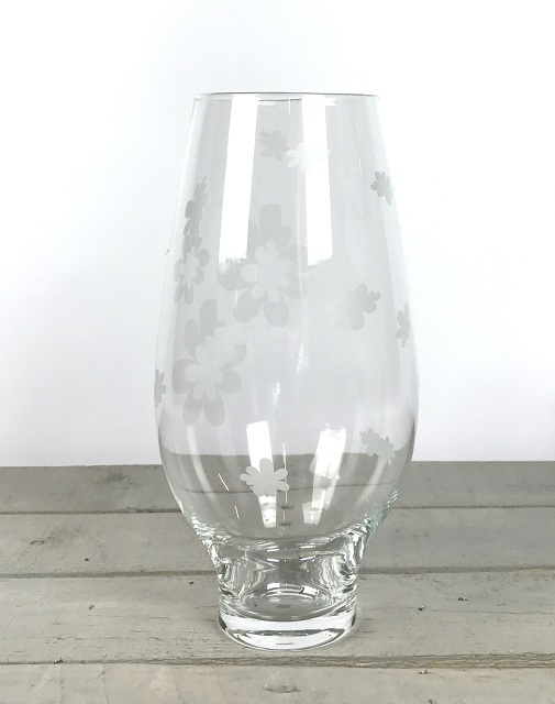 clear-decorated-glass-vase-mouth-blown-flower-bunch-bouquet-tall-32-cm