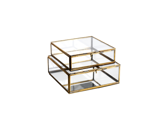 Organise your bits and bobs in these lovely glass storage boxes. Each one is handmade with a gorgeous antique brass edge, and has a quirky, vintage feel.