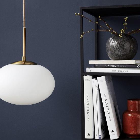 Opal White Lamp Brass Pendant Ceiling Glass Light Lamp By House Doctor Medium