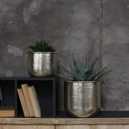 Large Stunningly Elegant Rhuna Made From Solid Brass Round Planter by Nkuku