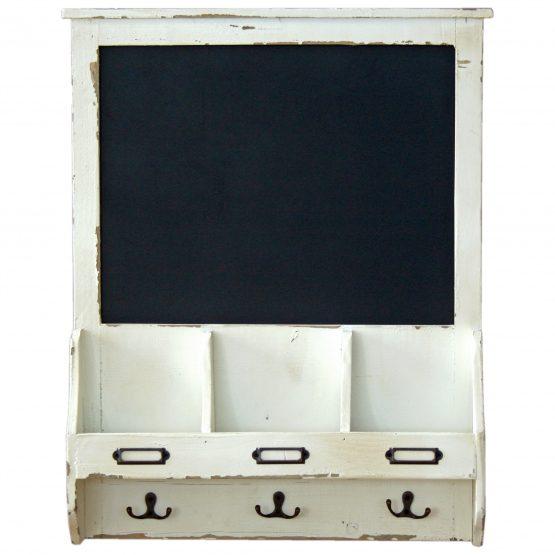 wall-mounted-white-wooden-storage-shelf-blackboard-hooks-orginals