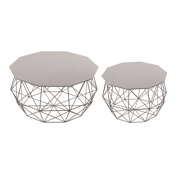 Set of 2 grey decagon sided wire wood side tables greentooth Images