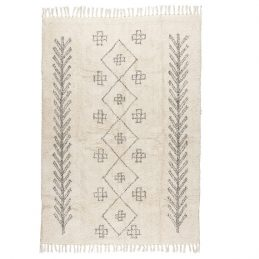 large-rug-deep-pile-white-with-black-printing-100-cotton-by-ib-laursen