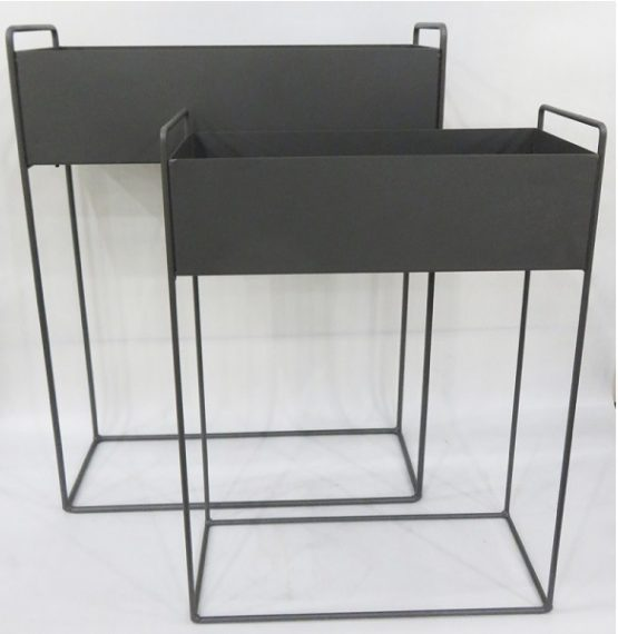Set Of 2 Industrial Rectangle Dark Grey Metal Plant Trough On Stand