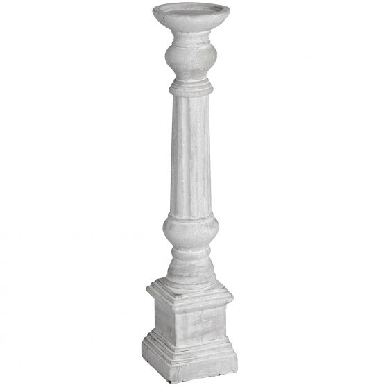 Large Grey Column Stone Candle Holder 51cm Design By Hill Interiors