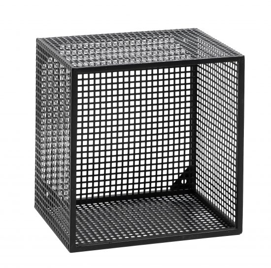 Small Industrial Style Wire Box Wall Shelf In Black By