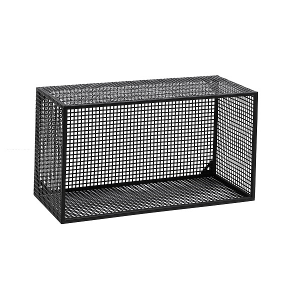 Large Industrial Style Wire Box / Wall Shelf In Black by Nordal