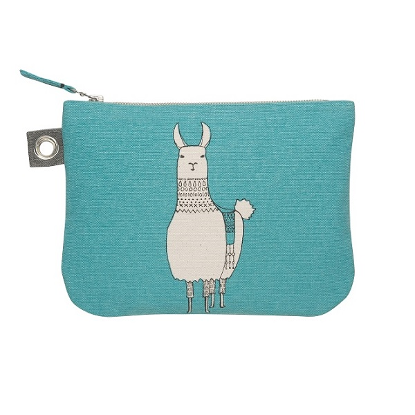 Large Teal Zipper Pouch With A Lama Design By Cubic