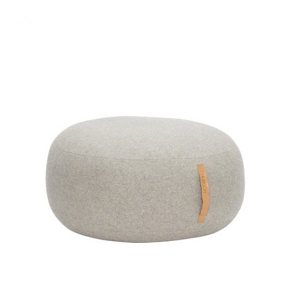 large-round-grey-wool-pouffe-with-leather-handle-strap-by-hubsch