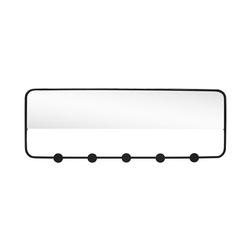 Black Coat Rack With 5 Hooks Amp Mirror By Hubsch