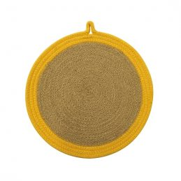 jute-and-cotton-woven-round-coaster-25-cm-yellow-by-home-interiors