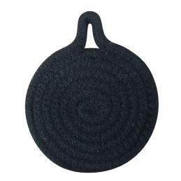 small-cotton-woven-round-coaster-10-cm-black-by-home-interiors-set-of-6