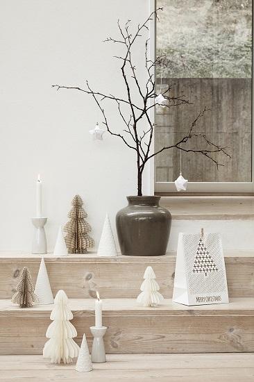 White Ceramic Christmas Tree.Modern White Ceramic Christmas Tree Set Of 2 Danish Design By Hubsch