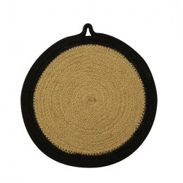 jute-and-cotton-woven-round-coaster-25-cm-natural-black-by-home-interiors-set-of-6