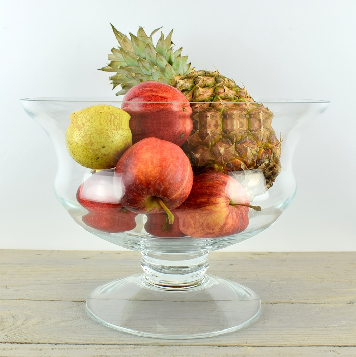 Large Mouth Blown Clear Glass Footed Fruit Salad Bowl Dish Wedding