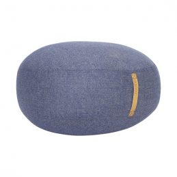 large-round-blue-herringbone-wool-pouf-with-leather-handle-strap-by-hubsch