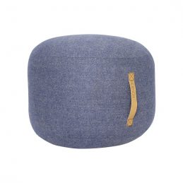 round-blue-herringbone-wool-pouf-with-leather-handle-strap-by-hubsch-copy