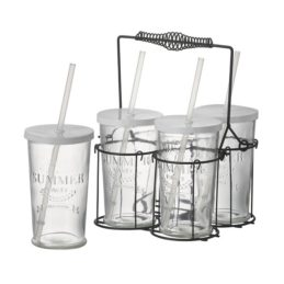 4-glasses-with-lids-straws-in-wire-metal-basket-carrier-by-parlane