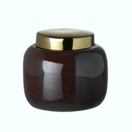 purple-ceramic-storage-jar-with-a-gold-lid-height-8-cm-by-parlane