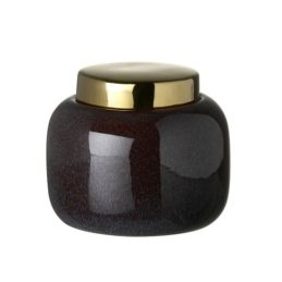 purple-ceramic-storage-jar-with-a-gold-lid-height-12-cm-by-parlane