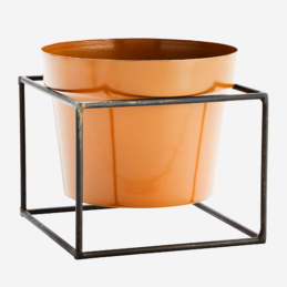 mustard-flower-pot-with-black-iron-stand-by-madam-stoltz